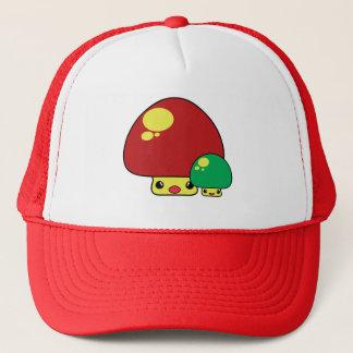 cute kawaii toadstool mushrooms red green trucker hat