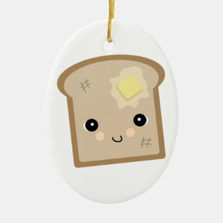 cute kawaii toast ceramic ornament