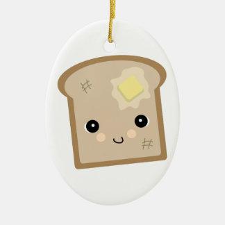 cute kawaii toast ceramic ornament