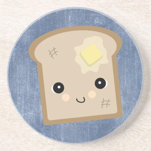 cute kawaii toast drink coasters