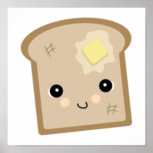 cute kawaii toast poster
