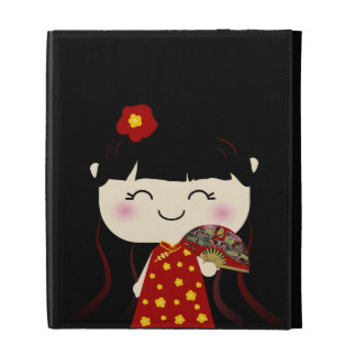 Cute Kawaii Traditional Chinese Girl Squeable iPad Folio Cases