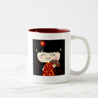 Cute Kawaii Traditional Chinese Girl Squeable Two-Tone Coffee Mug