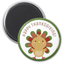 Cute Kawaii Turkey Happy Thanksgiving Colorful Magnet