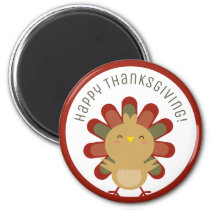Cute Kawaii Turkey Happy Thanksgiving Magnet