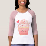 Cute kawaii Valentines heart pink Cupcake T Shirt