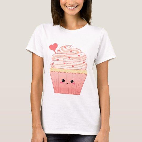 Cute kawaii Valentines heart pink Cupcake T-Shirt