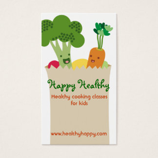 Cute kawaii vegetables grocery bag kids cooking business card