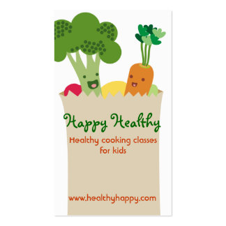 Cute kawaii vegetables grocery bag kids cooking Double-Sided standard business cards (Pack of 100)