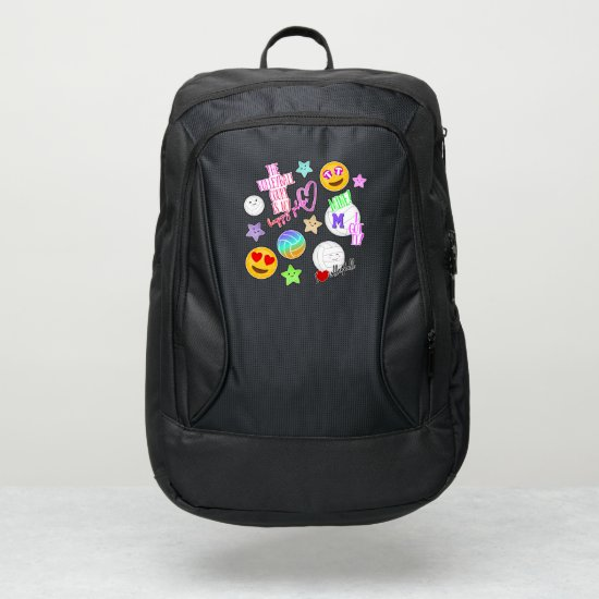 cute kawaii volleyball stickers look monogrammed port authority® backpack