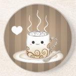 Cute Kawaii Warm Cocoa Drink Coaster at Zazzle