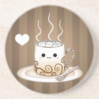 Cute kawaii warm cocoa drink coaster