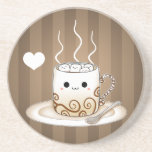 Cute kawaii warm cocoa drink coasters