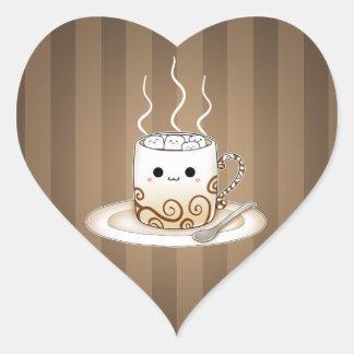 Cute kawaii warm cocoa drink heart sticker