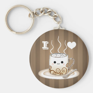 Cute kawaii warm cocoa drink keychain