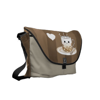 Cute kawaii warm cocoa drink messenger bag