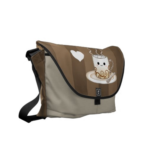 Cute kawaii warm cocoa drink messenger bag