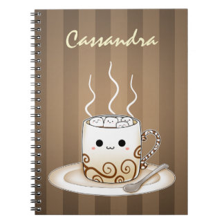 Cute kawaii warm cocoa drink notebook