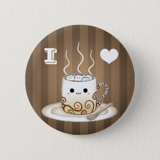 Cute kawaii warm cocoa drink pinback button