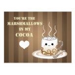 Cute kawaii warm cocoa drink postcard