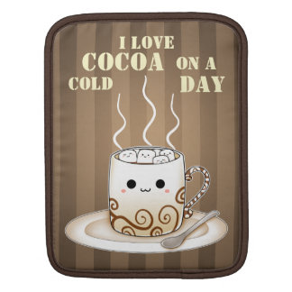 Cute kawaii warm cocoa drink quote sleeves for iPads