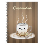 Cute Kawaii Warm Cocoa Drink Spiral Notebook at Zazzle