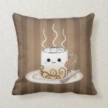 Cute kawaii warm cocoa drink throw pillows