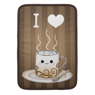Cute kawaii warm cocoa drink with name sleeve for MacBook air