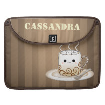 Cute kawaii warm cocoa drink with name sleeve for MacBooks