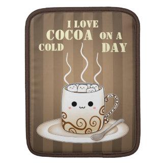 Cute kawaii warm cocoa drink with saying sleeves for iPads