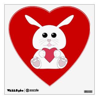 Cute Kawaii White bunny Valentine Heart wall decal