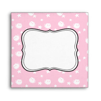Cute kawaii white cats and stars on pink envelope