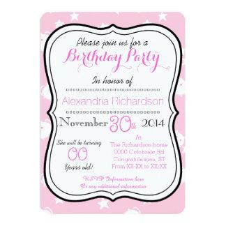 Cute Kawaii white kitty cat birthday party 5x7 Paper Invitation Card