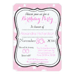 Cute Kawaii white kitty cat birthday party Personalized Announcement