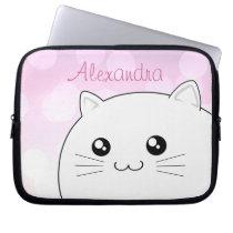 Cute kawaii white kitty cat computer sleeve