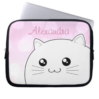 Cute kawaii white kitty cat computer sleeve