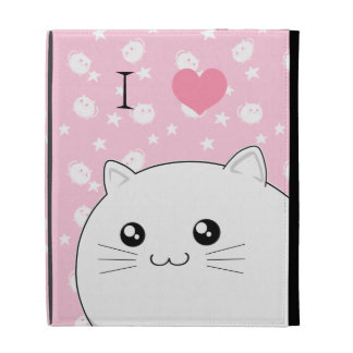 Cute Kawaii white kitty cat iPad Folio Cover