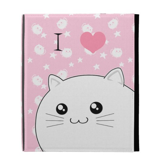 Cute Kawaii white kitty cat iPad Folio Cover