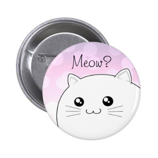Cute kawaii white kitty cat pinback button