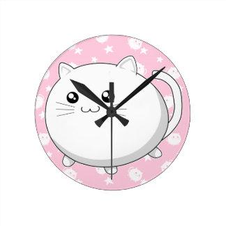 Cute Kawaii white kitty cat Round Clock