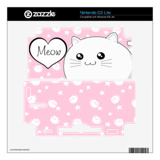 Cute Kawaii white kitty cat Nintendo DS Lite Decals