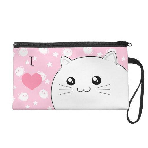 Cute Kawaii white kitty cat Wristlet Clutch