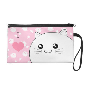 Cute Kawaii white kitty cat Wristlet Purse