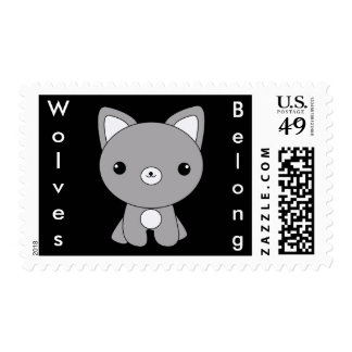 Cute kawaii Wolves Belong baby wolf stamps