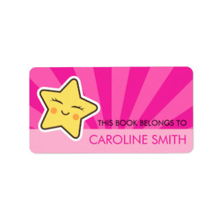 Cute kawii star on hot pink sunburst bookplate