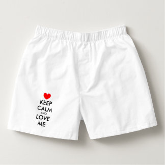 Cute keep calm and love me valentine boxer shorts