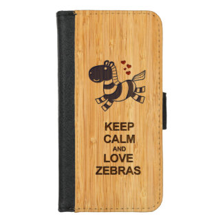 Cute Keep Calm and Love Zebras in Bamboo Look iPhone 8/7 Wallet Case