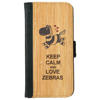 Cute Keep Calm and Love Zebras in Bamboo Look iPhone 6 Wallet Case