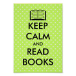 Cute Keep calm and read books poster print