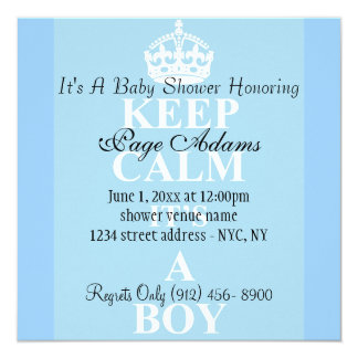 Cute Keep Calm Blue Baby Boy Shower Invitation